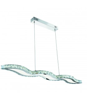 LED Ceiling Pendant Bar Light Chrome with Crystals