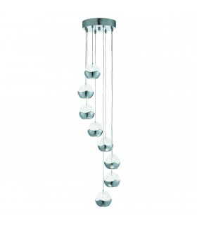LED 8 Light Spiral Cluster Pendant Chrome