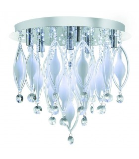 LED 6 Light Flush Ceiling Light Chrome and Glass with Remote