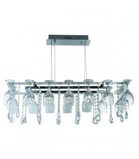 10 Light Ceiling Pendant Chrome with Glass Crystals