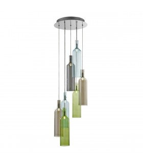 7 Light Cluster Pendant Chrome, Smoked Coloured Glass