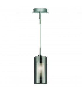 1 Light Ceiling Pendant Chrome, Smoked Glass Single