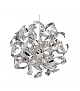 6 Light Ribbon Ceiling Pendant Chrome with Glass Crystals, G4 Bulb