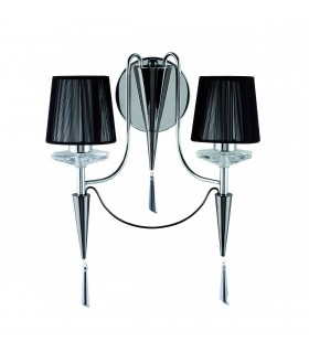 2 Light Indoor Candle Wall Light Black Chrome with Shades