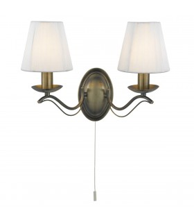 2 Light Indoor Candle Wall Light Antique Brass with Shades, E14