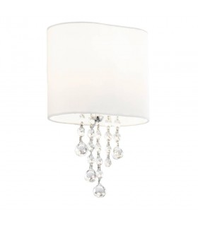 1 Light Indoor Wall Light Chrome, Crystal with Shade