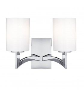 2 Light Indoor Wall Light Chrome with Glass Shade
