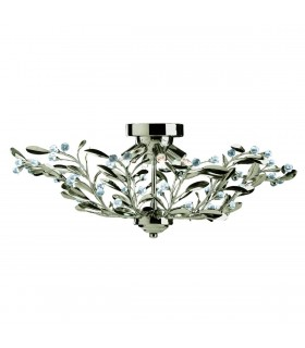 6 Light Flush Multi Arm Ceiling Light Antique Brass, Crystal