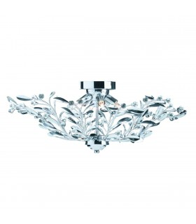 6 Light Flush Multi Arm Ceiling Light Chrome, Crystal
