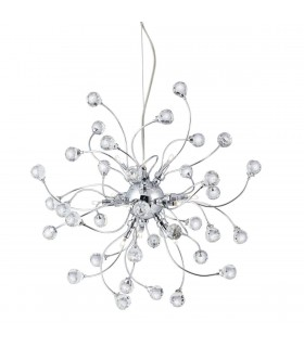 12 Light Ceiling Pendant Chrome with Crystals, G4 Bulb