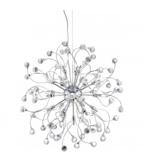 24 Light Ceiling Pendant Chrome with Crystals, G4 Bulb