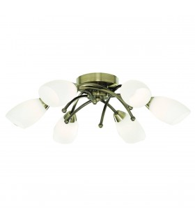 6 Light Flush Multi Arm Ceiling Light Antique Brass and Opal Glass