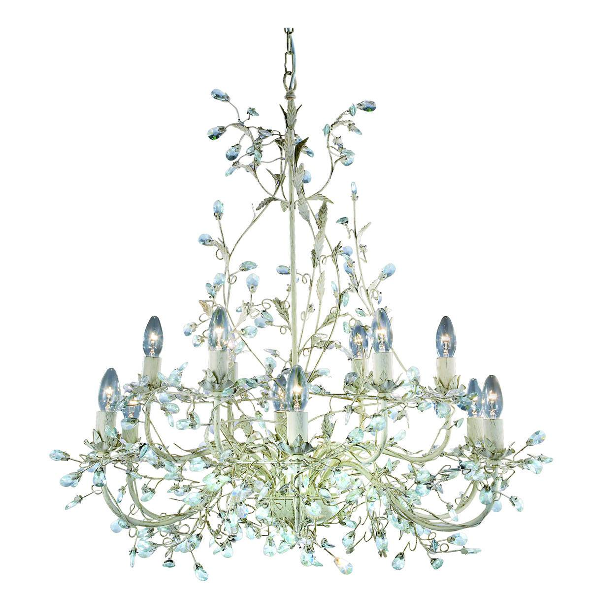 12 Light Multi Arm Ceiling Pendant Gold, Cream With Crystals Floral Leaves Design, E14