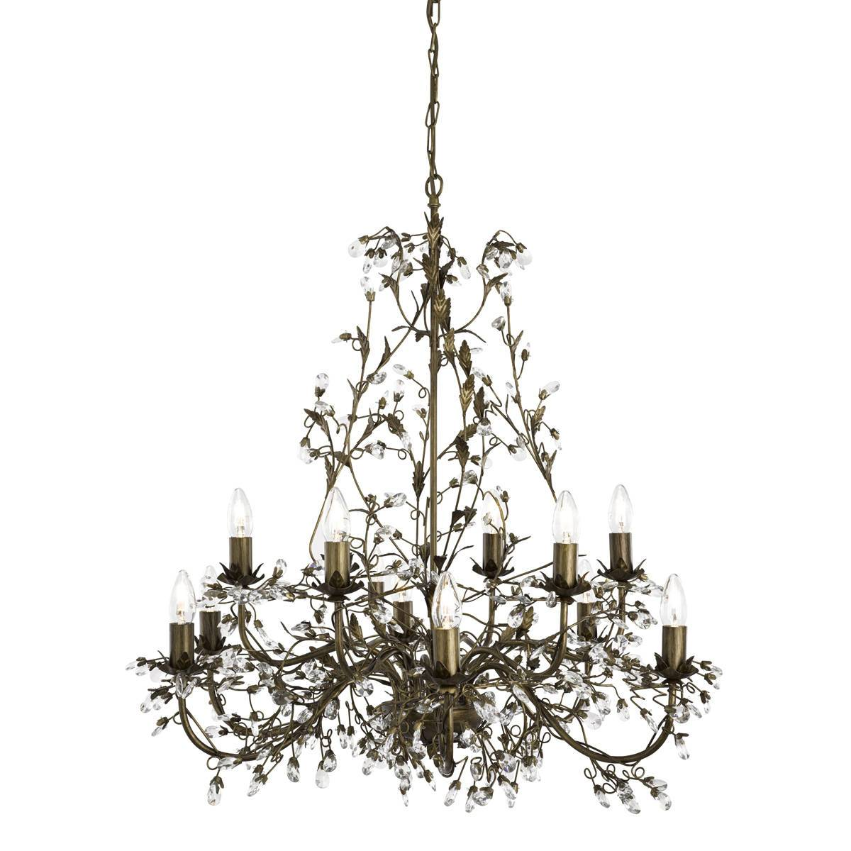 12 Light Multi Arm Ceiling Pendant Brown Gold With Crystals Floral Leaves Design, E14