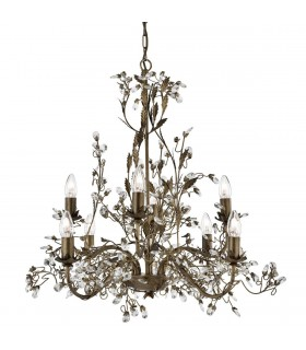 8 Light Chandelier Brown Gold Finish