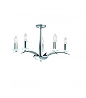 5 Light Multi Arm Multi Arm Ceiling Pendant Chrome, Glass Five
