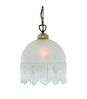 1 Light Ceiling Pendant Antique Brass, Acid Etched Glass