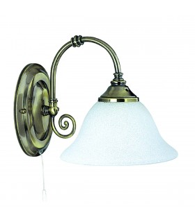 1 Light Indoor Wall Light Antique Brass with Scavo Glass Shades
