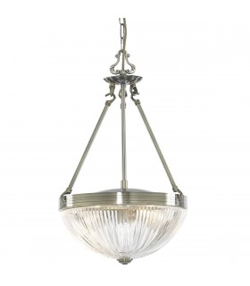 2 Light Ceiling Pendant Antique Brass, Ribbed Glass