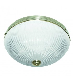 2 Light Flush Ceiling Light Antique Brass with Ribbed Glass