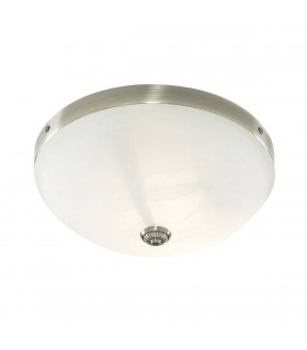 Windsor Antique Brass Flush Fitting With Marble Glass - Searchlight 5772-2AB