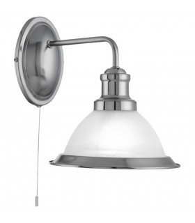 1 Light Wall Light Satin Silver with Acid Glass Shade