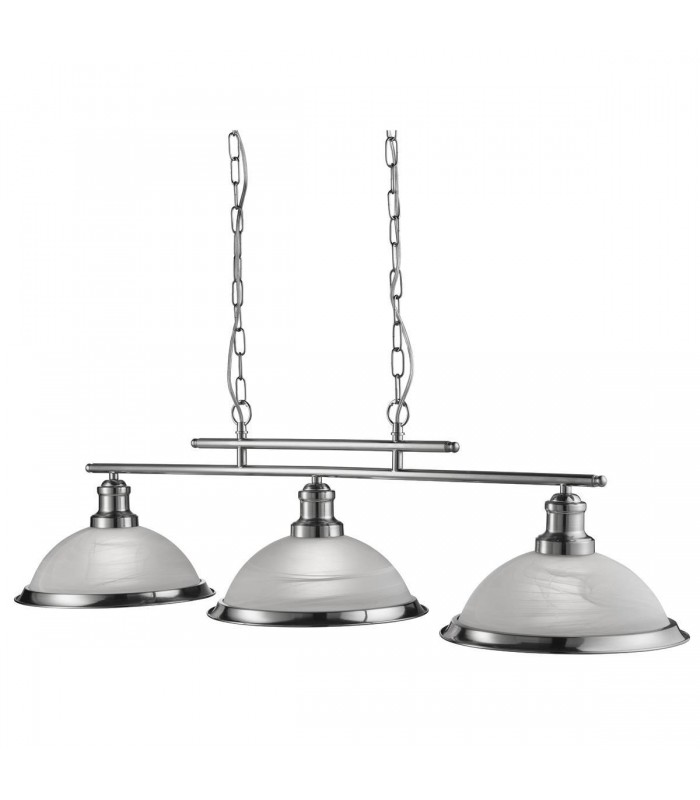 Bistro Satin Silver Three Light Pendant On Bar With Acid Glass - Searchlight 2683-3SS