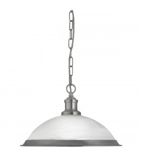 Bistro Satin Silver Single Pendant With Acid Glass - Searchlight 1591SS