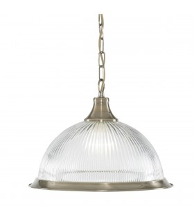 American Diner Antique Brass Single Pendant With Ribbed Glass