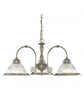 American Diner Antique Brass Three Light Pendant With Ribbed Glass