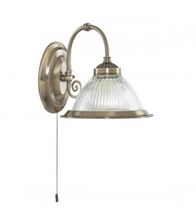 American Diner Antique Brass Wall Light With Ribbed Glass