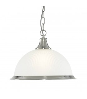 American Diner Satin Silver Single Pendant With Acid Ribbed Glass