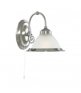 American Diner Satin Silver Wall Light With Acid Ribbed Glass