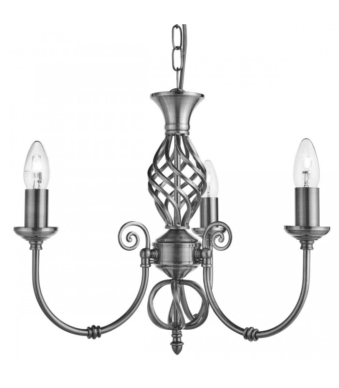 Zanzibar Satin Silver Three Light Pendant - Searchlight 4489-3