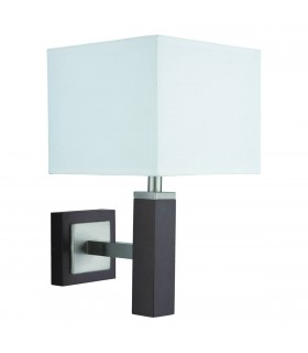 Wavereley Satin Silver And Brown Wood Wall Lamp - Searchlight 8878BR