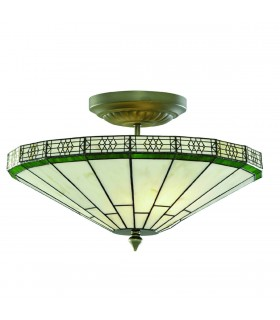 2 Light Semi Flush Ceiling Light Antique Brass, Tiffany Glass, E14