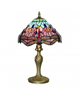 1 Light Table Lamp Antique Brass, Tiffany Glass, Red, Blue, E27