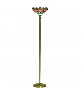1 Light Floor Lamp Antique Brass, Tiffany Glass, Red, Blue