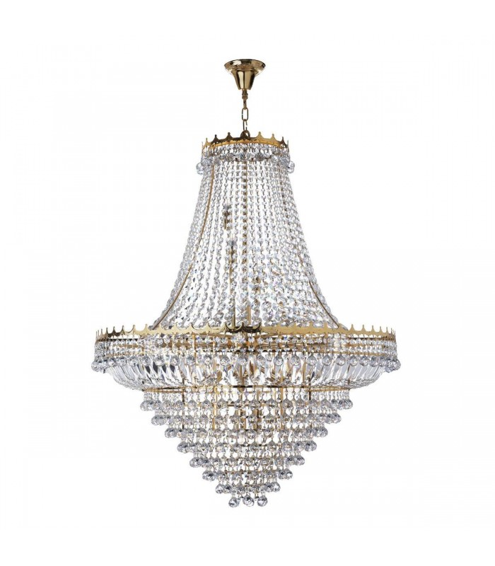 Gold Nineteen Light Chandelier With Crystals