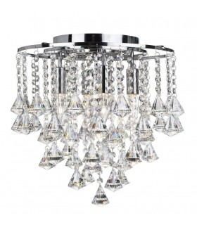 4 Light Flush Ceiling Light Chrome, Crystal