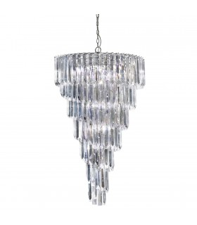 9 Light Chandelier Chrome Finish with Acrylic Crystals, E14