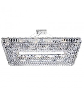 24 Light Ceiling Pendant Chrome with Crystals - Rectangle Frame
