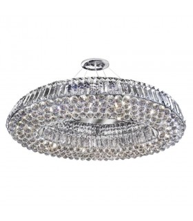 10 Light Ceiling Pendant Chrome with Crystals