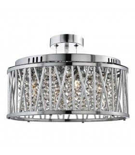 5 Light Ceiling Pendant Chrome with Crystals, G9