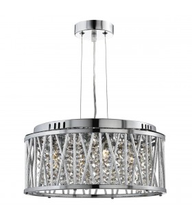 4 Light Ceiling Pendant Chrome with Crystals