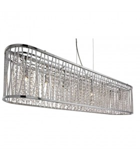 8 Light Ceiling Pendant Bar Chrome with Crystals, G9