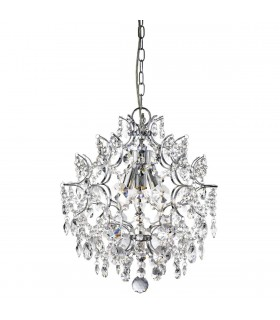 3 Light Ceiling Pendant Chrome with Crystals
