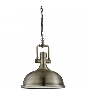 Antique Brass Industrial Pendant With Glass Diffuser - Searchlight 1322AB