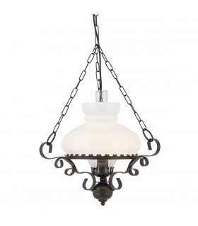 1 Light Ceiling Pendant Rustic with Opal Glass Shade, E27
