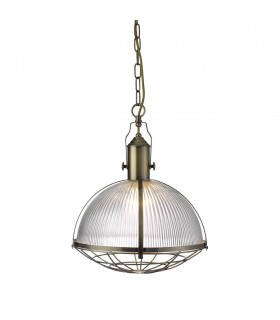 1 Light Ceiling Pendant Antique Brass, Glass